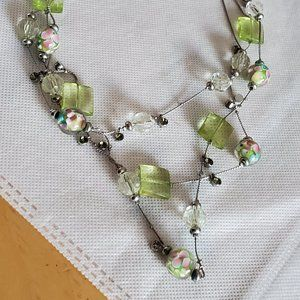"18"" Layered Silver Tone Glass Bead Necklace Floral"